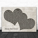 Heatwave Always And Forever Landscape Music Script Two Hearts Song Lyric Art Print