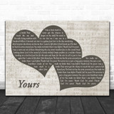 Russell Dickerson Yours Landscape Music Script Two Hearts Song Lyric Art Print