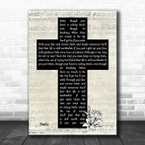Michael Jackson Smile Music Script Christian Memorial Cross Song Lyric Art Print