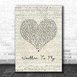 Elbow Weather To Fly Script Heart Song Lyric Art Print