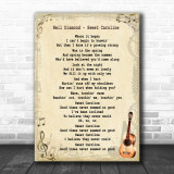 Neil Diamond Sweet Caroline Song Lyric Vintage Music Wall Art Print