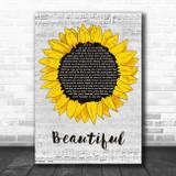 Carole King Beautiful Grey Script Sunflower Song Lyric Art Print