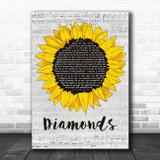 Timmy Trumpet Diamonds Grey Script Sunflower Song Lyric Art Print