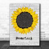 Kane Brown Homesick Grey Script Sunflower Song Lyric Art Print