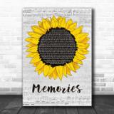 Maroon 5 Memories Grey Script Sunflower Song Lyric Art Print