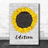 Rex Orange County Edition Grey Script Sunflower Song Lyric Art Print