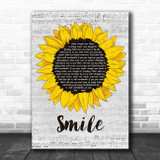 Michael Jackson Smile Grey Script Sunflower Song Lyric Art Print