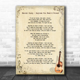 Mariah Carey Anytime You Need A Friend Vintage Guitar Song Lyric Art Print