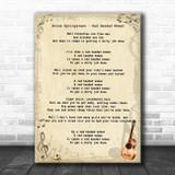 Bruce Springsteen Red Headed Woman Vintage Guitar Song Lyric Art Print