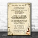 Dire Straits Romeo And Juliet Vintage Guitar Song Lyric Art Print