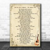 Red Hot Chili Peppers The Zephyr Song Vintage Guitar Song Lyric Art Print