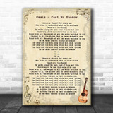 Oasis Cast No Shadow Vintage Guitar Song Lyric Art Print