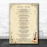 Tina Turner Proud Mary Vintage Guitar Song Lyric Art Print