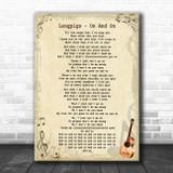 Longpigs On And On Vintage Guitar Song Lyric Art Print