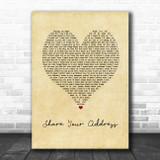 Ben Platt Share Your Address Vintage Heart Song Lyric Art Print