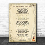 The Beatles Every Little Thing Song Lyric Music Wall Art Print