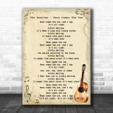 The Beatles Here Comes The Sun Song Lyric Vintage Music Wall Art Print