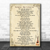 The Beatles When I'm Sixty Four Song Lyric Music Wall Art Print