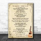 The Carpenters Goodbye To Love Song Lyric Vintage Music Wall Art Print