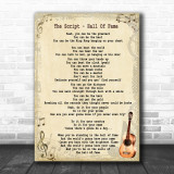 The Script Hall Of Fame Song Lyric Vintage Music Wall Art Print