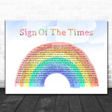 Harry Styles Sign Of The Times Watercolour Rainbow & Clouds Song Lyric Art Print