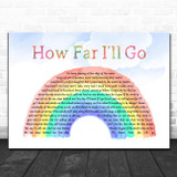 Auli'i Cravalho How Far I'll Go Watercolour Rainbow & Clouds Song Lyric Art Print