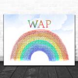Cardi B WAP Watercolour Rainbow & Clouds Song Lyric Art Print