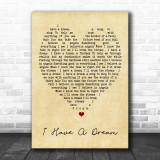 I Have A Dream ABBA Vintage Heart Song Lyric Music Wall Art Print