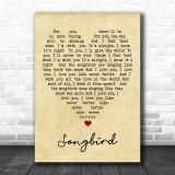 Songbird Fleetwood Mac Vintage Heart Song Lyric Music Wall Art Print