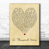 A Thousand Years Christina Perri Vintage Heart Song Lyric Music Wall Art Print
