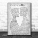 Celine Dion Because You Loved Me Two Men Gay Couple Wedding Grey Wall Art Gift Song Lyric Print