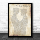 Celine Dion My Heart Will Go On Gay Couple Two Men Dancing Decorative Gift Song Lyric Print