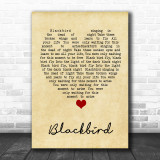 Blackbird The Beatles Vintage Heart Song Lyric Music Wall Art Print