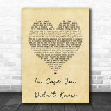 Brett Young In Case You Didn't Know Vintage Heart Song Lyric Music Wall Art Print