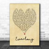Everlong Foo Fighters Vintage Heart Song Lyric Music Wall Art Print