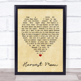 Harvest Moon Neil Young Vintage Heart Song Lyric Music Wall Art Print