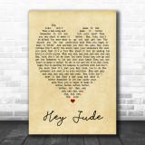 Hey Jude The Beatles Vintage Heart Song Lyric Music Wall Art Print