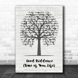 Green Day Good Riddance (Time Of Your Life) Music Script Tree Wall Art Song Lyric Print