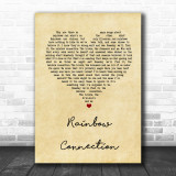 The Muppets Rainbow Connection Vintage Heart Song Lyric Music Wall Art Print