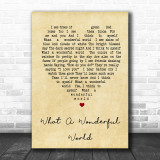 What A Wonderful World Louis Armstrong Vintage Heart Song Lyric Music Wall Art Print