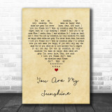 You Are My Sunshine Vintage Heart Song Lyric Music Wall Art Print