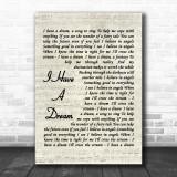 I Have A Dream ABBA Script Song Lyric Music Wall Art Print