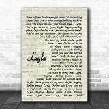 Layla Eric Clapton Song Lyric Vintage Script Music Wall Art Print