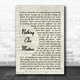 Nothing Else Matters Metallica Song Lyric Vintage Script Music Wall Art Print