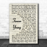 Rod Stewart Forever Young Vintage Script Song Lyric Music Wall Art Print