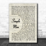 Lynyrd Skynyrd Simple Man Song Lyric Vintage Script Music Wall Art Print