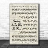 James Taylor Something In The Way She Moves Song Lyric Vintage Script Music Wall Art Print