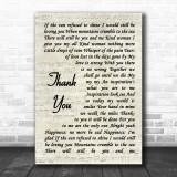 Led Zeppelin Thank You Song Lyric Vintage Script Music Wall Art Print