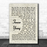 Forever Young Bob Dylan Script Song Lyric Music Wall Art Print