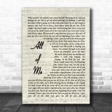 All Of Me John Legend Song Lyric Vintage Script Music Wall Art Print